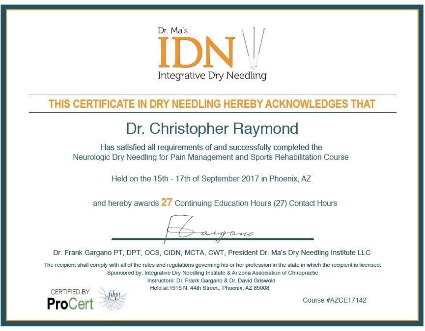 Dry Needling Certification And Information Raymond Chiropractic